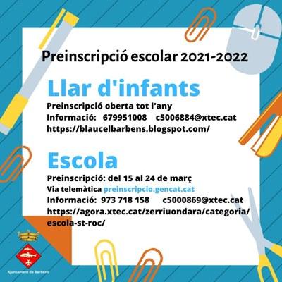 PREINSCRIPCIÓ ESCOLAR CURS 2021-2022