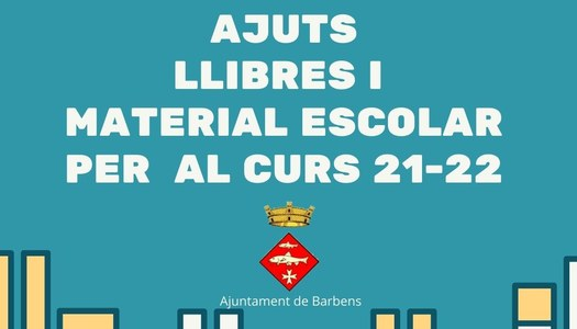 Ajuts per a llibres i material escolar per al curs 2021-22