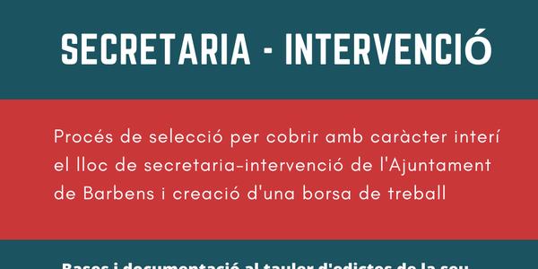 Oferta de feina a secretaria - intervenció